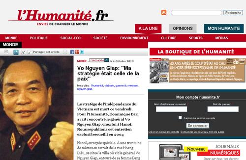 Truyền thông Pháp ca ngợi Đại tướng Võ Nguyên Giáp 1