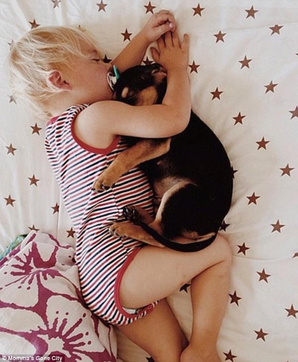 Chùm ảnh siêu dễ thương khi bé ngủ cùng cún con 7