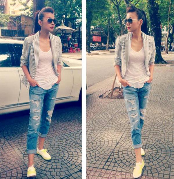Thanh Hằng mặc jeans sành điệu 8