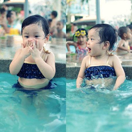 MC Diệp Chi khoe con gái đáng yêu với bikini 5
