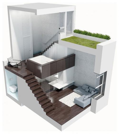 """Thiết kế tuyệt đối thông minh cho căn hộ """"bé tẹo"""" 1"""