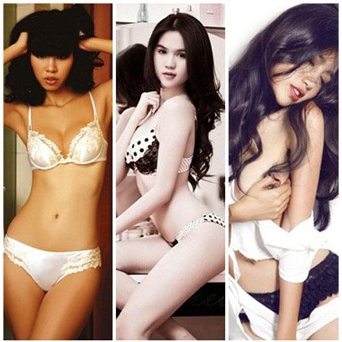 Đo độ nóng bỏng của 3 người đẹp Ngọc Trinh, Elly Trần, Hà Anh khi mặc nội y 1