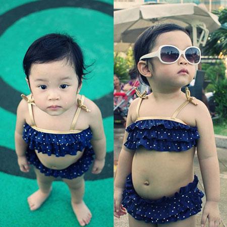 MC Diệp Chi khoe con gái đáng yêu với bikini 4