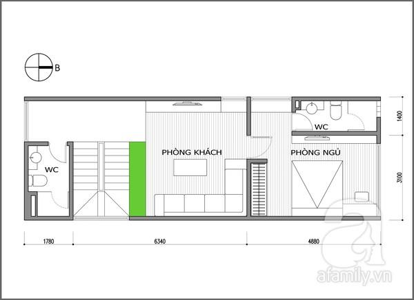 Cải tạo phòng 60 m² cho vợ chồng trẻ 2