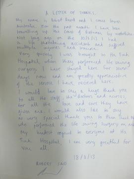 Bệnh nhân nước ngoài viết thư cám ơn bác sĩ 3
