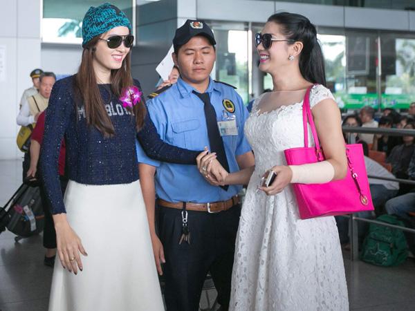Lâm Chi Khanh đón Hoa hậu chuyển giới Thái Lan ở sân bay Tân Sơn Nhất 2
