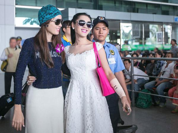 Lâm Chi Khanh đón Hoa hậu chuyển giới Thái Lan ở sân bay Tân Sơn Nhất 3