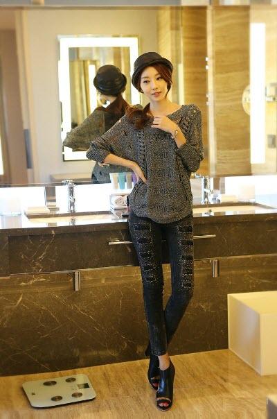 Điệu đà với mốt áo len nữ Hàn Quốc mùa thu 8