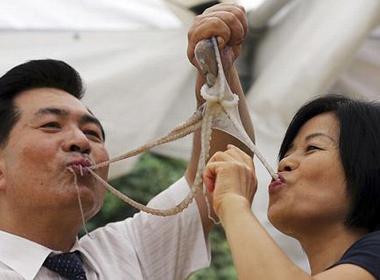 Rùng mình cảnh nhai ngấu nghiến bạch tuộc sống 1