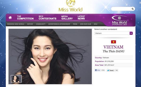 HH Đặng Thu Thảo bất ngờ có mặt trong danh sách thí sinh Miss World 2013 1