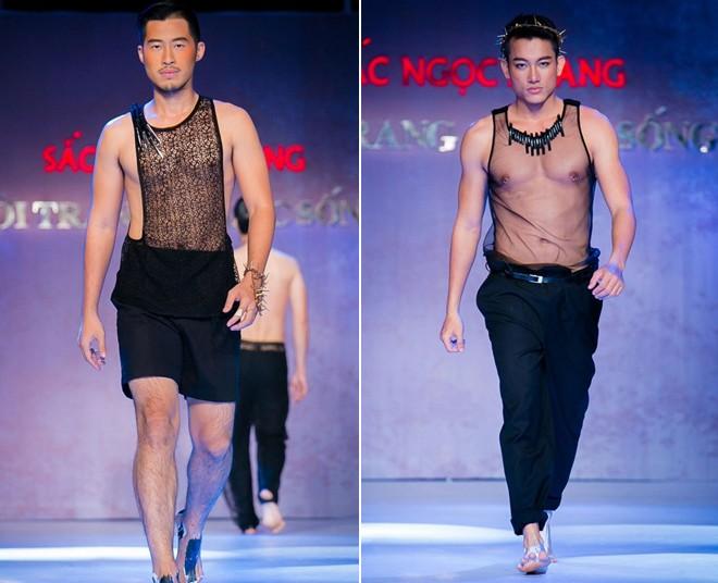 Khi người mẫu nam chuộng áo ren mỏng, váy xòe 6