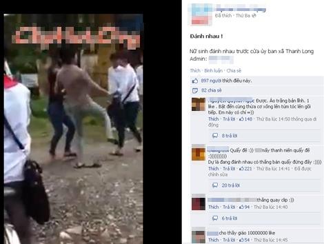 Xôn xao clip nữ sinh đánh nhau trước cửa ủy ban xã 1