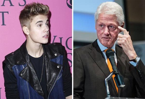 Justin Bieber gửi lời xin lỗi Bill Clinton vì phun nước vào bức ảnh của ông 1