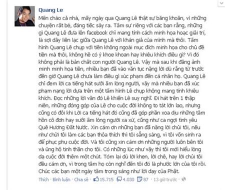 Quang Lê lên tiếng về scandal khoe tiền 2